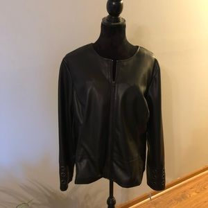 NWT. Woman's faux leather zip jacket.